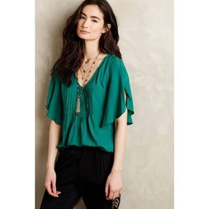 Anthropologie Maeve Pintucked Fluttered Maya Top